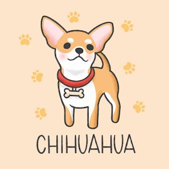 Estilo de mão desenhada bonito dos desenhos animados de chihuahua