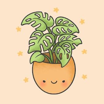 Estilo de mão desenhada bonito dos desenhos animados de planta