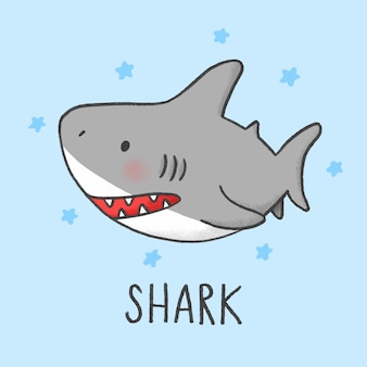 Estilo de mão desenhada bonito dos desenhos animados de tubarão