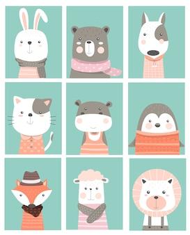 Estilo de mão desenhada cartão bonito dos desenhos animados animais