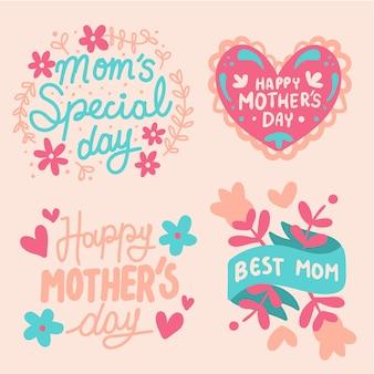 Estilo de mão desenhada conjunto de rótulo de dia das mães