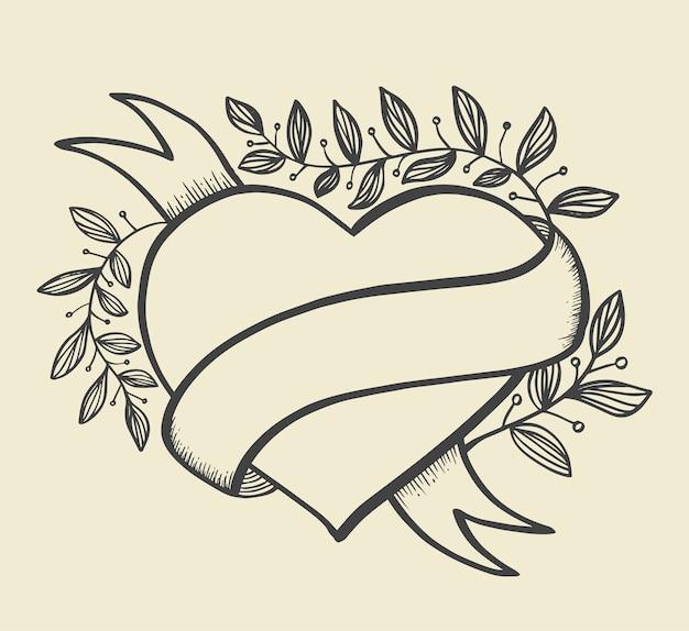 Estilo de mão desenhada de bandeira de coração