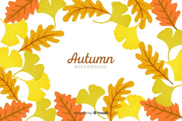 Estilo de mão desenhada de fundo de folhas de outono