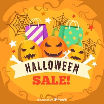 Estilo de mão desenhada de fundo de vendas de halloween