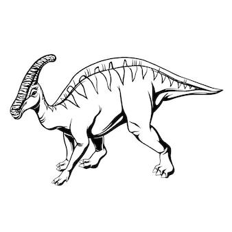 Estilo de mão desenhada de hadrossauro em quadrinhos para impressão, tatuagem, design e logotipo. ilustração vetorial.