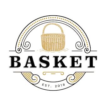Estilo de mão desenhada de logotipo de cesta