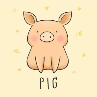 Estilo de mão desenhada de porco bonito dos desenhos animados