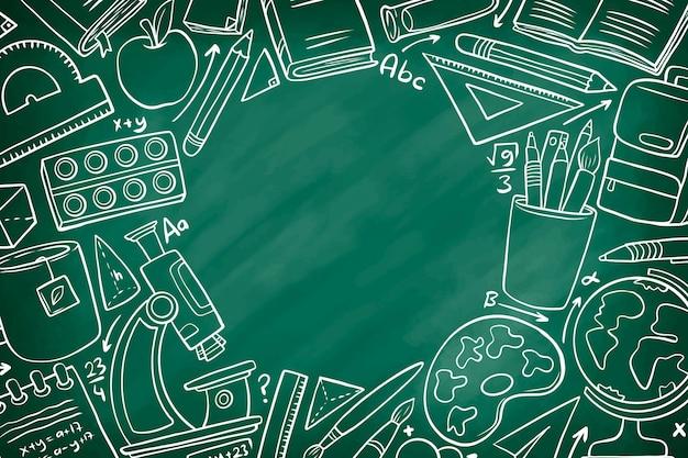 Estilo de mão desenhada de volta ao fundo da escola