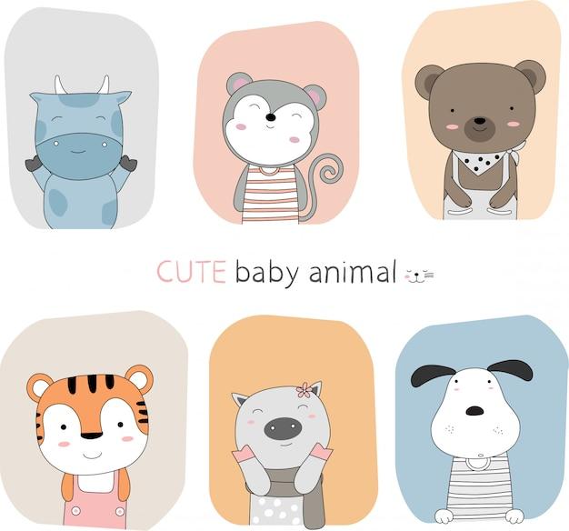 Estilo de mão desenhada desenho dos desenhos animados o animal bonito bebê postura