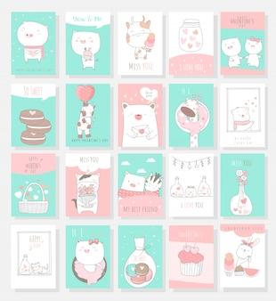 Estilo de mão desenhada do bebê animal cartão bonito dos desenhos animados