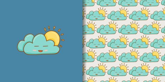 Estilo de mão desenhada nuvem ensolarada dos desenhos animados
