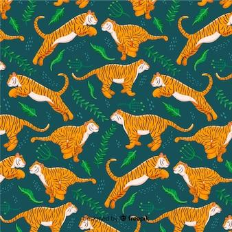 Estilo de mão desenhada tigre padrão