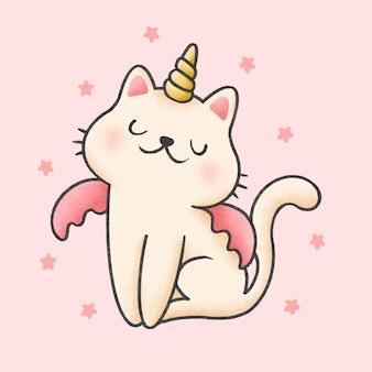 Estilo de mão desenhada unicórnio gato dos desenhos animados