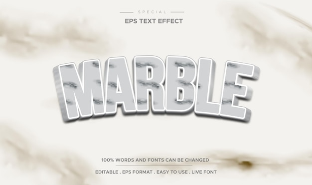 Estilo de mármore de efeito de texto editável