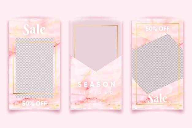 Estilo de mármore rosa para vender produtos na coleção de histórias do instagram