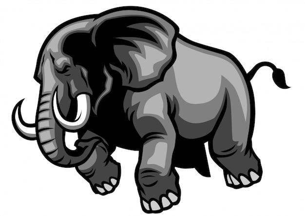 Estilo de mascote de elefante de carregamento