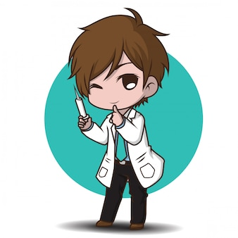 Estilo de médico de personagem bonito dos desenhos animados.