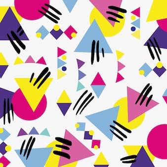 Estilo de memphis com ilustração vetorial de design geométrico de cores