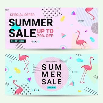 Estilo de memphis da bandeira da venda do verão com flamingo no molde cor-de-rosa e azul do projeto.