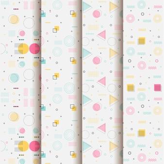 Estilo de memphis de coleção de padrões