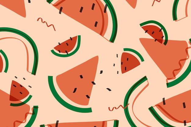 Estilo de memphis de fruta melancia