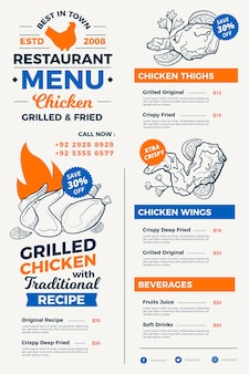 Estilo de menu de restaurante digital desenhado à mão