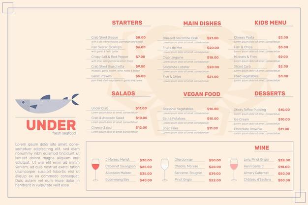 Estilo de menu de restaurante digital