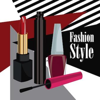 Estilo de moda cosméticos rímel batom e esmalte poster