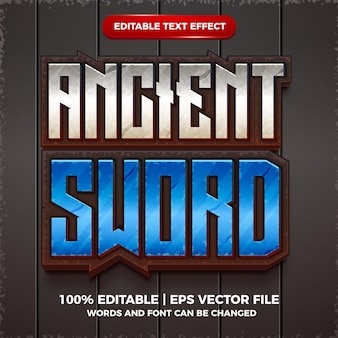 Estilo de modelo 3d de efeito de texto editável de espada antiga