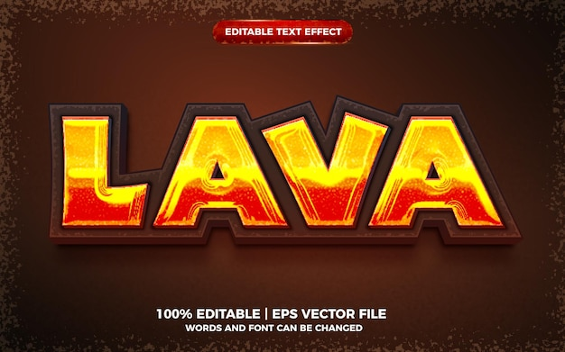 Estilo de modelo 3d de efeito de texto editável em negrito lava