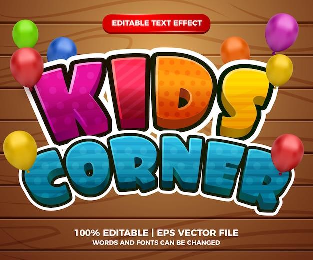 Estilo de modelo 3d dos desenhos animados com efeito de texto editável kids corner