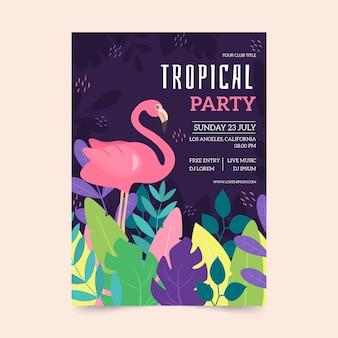 Estilo de modelo de cartaz de festa tropical