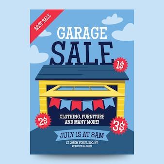 Estilo de modelo de cartaz de venda de garagem