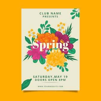 Estilo de modelo de cartaz floral de festa primavera