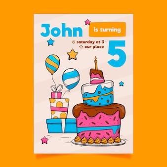 Estilo de modelo de convite de aniversário infantil