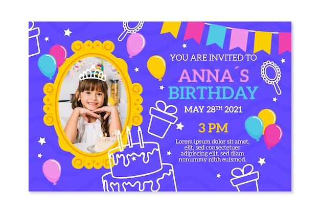 Estilo de modelo de convite de aniversário para crianças
