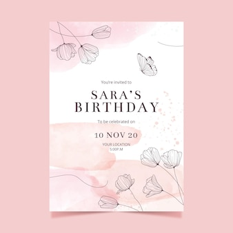 Estilo de modelo de convite de aniversário
