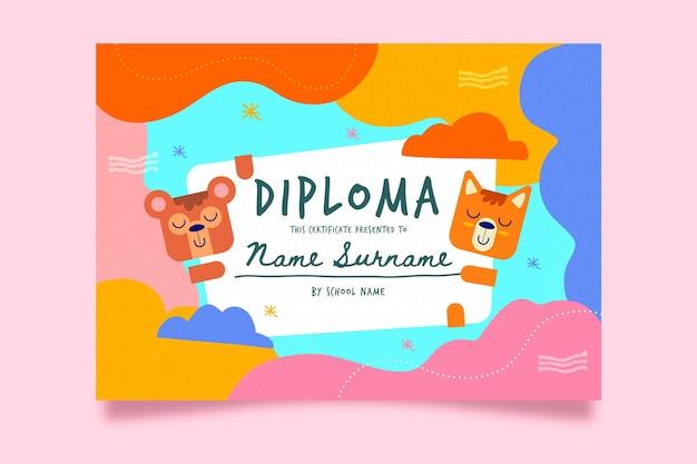 Estilo de modelo de diploma para crianças