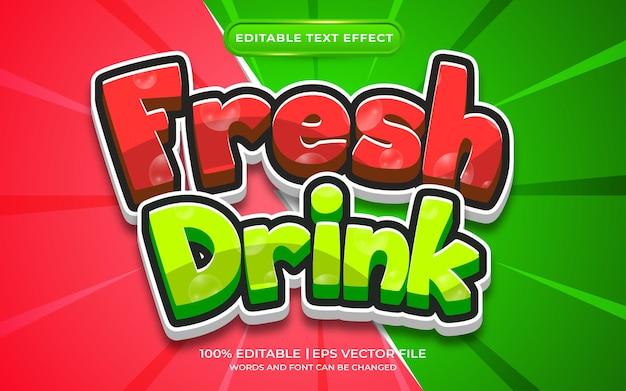 Estilo de modelo de efeito de texto de bebida fresca