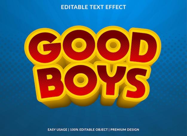 Estilo de modelo de efeito de texto de bons meninos