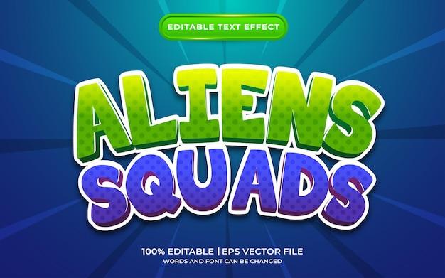 Estilo de modelo de efeito de texto de esquadrões de alienígenas