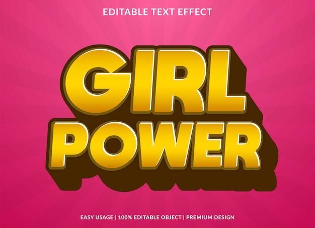 Estilo de modelo de efeito de texto de garota de poder