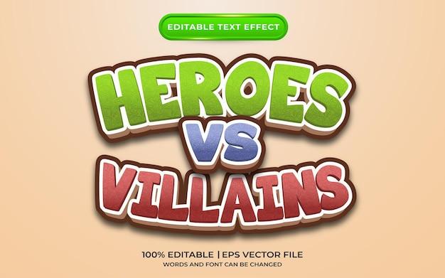 Estilo de modelo de efeito de texto de heróis vs vilões