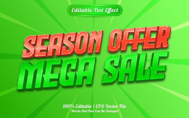 Estilo de modelo de efeito de texto de oferta de temporada