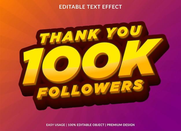 Estilo de modelo de efeito de texto de realização de seguidor de mídia social