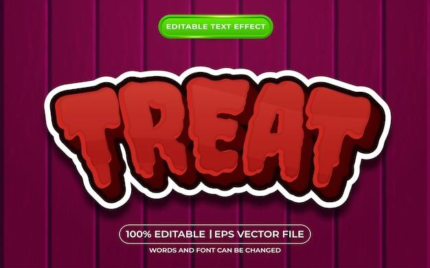Estilo de modelo de efeito de texto editável 3d ttreat com tema de halloween