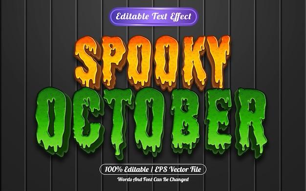 Estilo de modelo de efeito de texto editável assustador de outubro