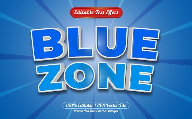 Estilo de modelo de efeito de texto editável da zona azul 3d
