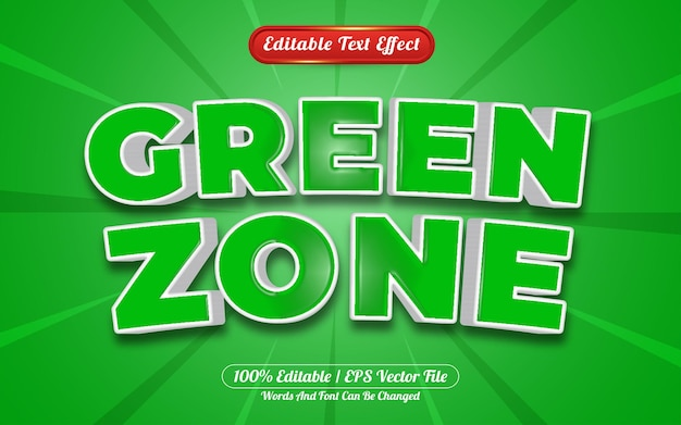 Estilo de modelo de efeito de texto editável da zona verde 3d