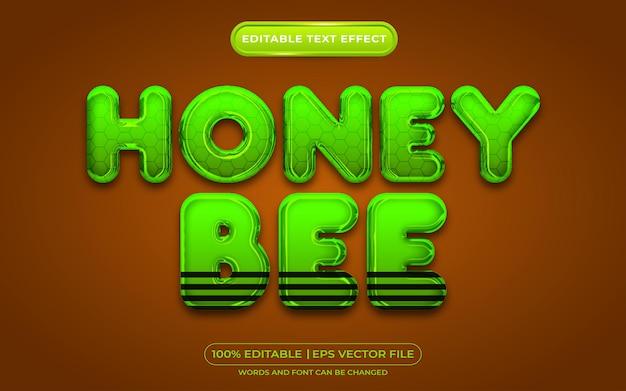 Estilo de modelo de efeito de texto editável de abelha de mel